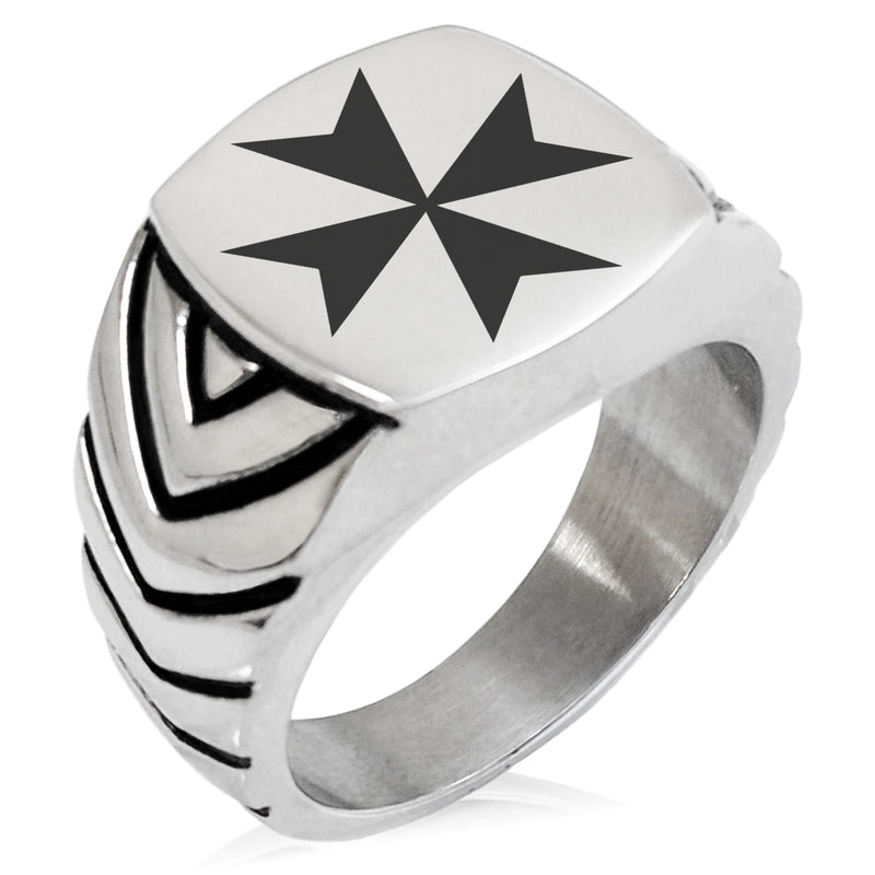 Stainless Steel Maltese Cross Chevron Pattern Biker Style Polished Ring - Tioneer