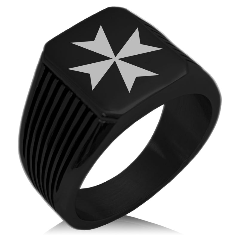 Stainless Steel Maltese Cross Needle Stripe Pattern Biker Style Polished Ring - Tioneer