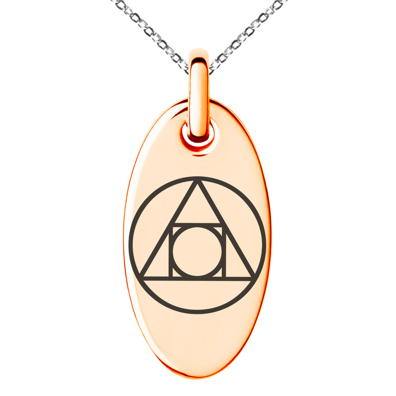 Stainless Steel Alchemy Engraved Small Oval Charm Pendant Necklace