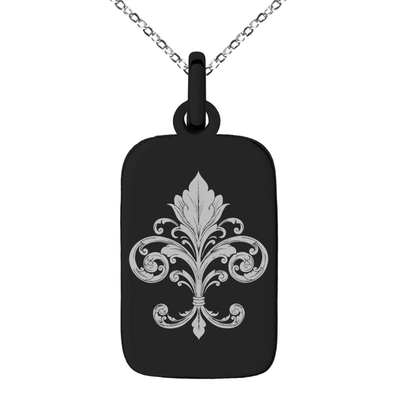 Stainless Steel Ornate Fleur De Lis Engraved Small Rectangle Dog Tag Charm Pendant Necklace - Tioneer