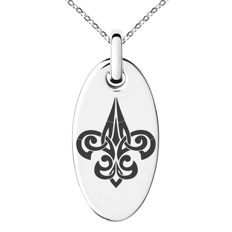 Stainless Steel Tribal Fleur De Lis Engraved Small Oval Charm Pendant Necklace - Tioneer
