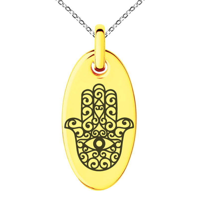 Stainless Steel Filigree Hamsa Hand of Fatima Engraved Small Oval Charm Pendant Necklace