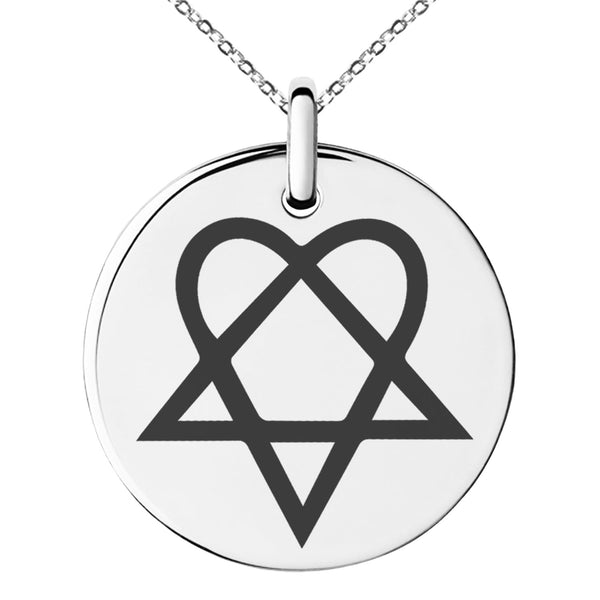 Stainless Steel Heartagram Engraved Small Medallion Circle Charm Pendant Necklace