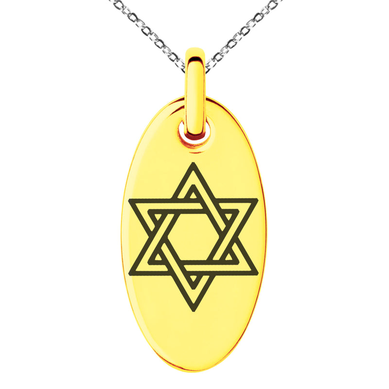 Stainless Steel Interlocking Hexagram Star of David Engraved Small Oval Charm Pendant Necklace