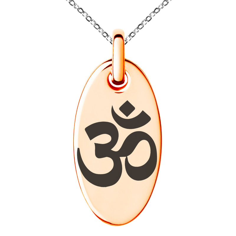 Stainless Steel Sacred Sanskrit Om Engraved Small Oval Charm Pendant Necklace - Tioneer