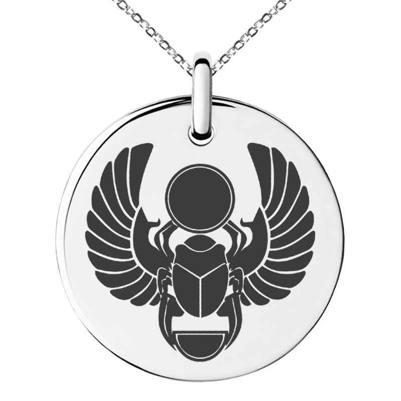 Stainless Steel Scarab Beetle Sacred Sun Engraved Small Medallion Circle Charm Pendant Necklace - Tioneer