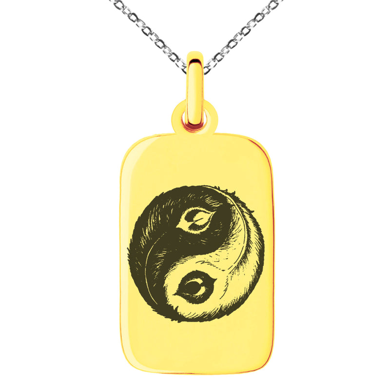 Stainless Steel Peacock Feather Yin Yang Engraved Small Rectangle Dog Tag Charm Pendant Necklace - Tioneer
