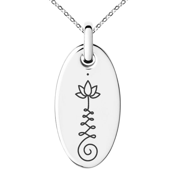 Stainless Steel Sacred Lotus Unalome Engraved Small Oval Charm Pendant Necklace - Tioneer