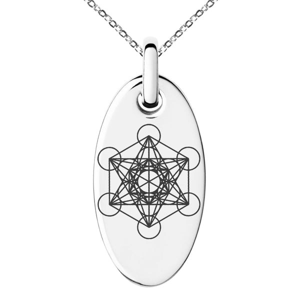 Stainless Steel Metatron's Cube Engraved Small Oval Charm Pendant Necklace - Tioneer