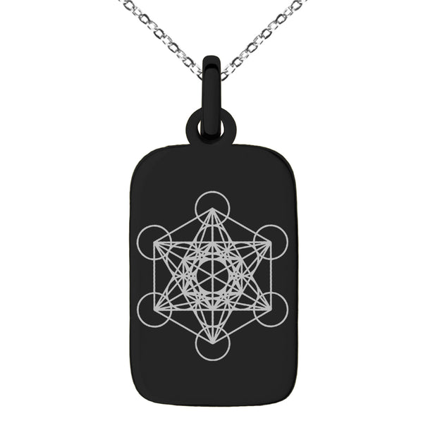 Stainless Steel Metatron's Cube Engraved Small Rectangle Dog Tag Charm Pendant Necklace - Tioneer