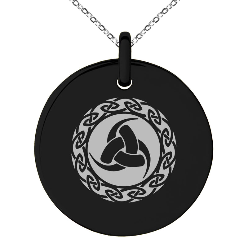 Stainless Steel Triskelion Triple Horn of Odin Viking Engraved Small Medallion Circle Charm Pendant Necklace - Tioneer