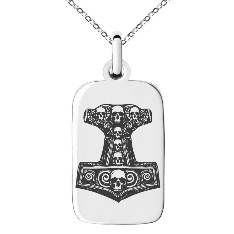 Stainless Steel Mjolnir Thor's Black Skull Hammer Engraved Small Rectangle Dog Tag Charm Pendant Necklace - Tioneer