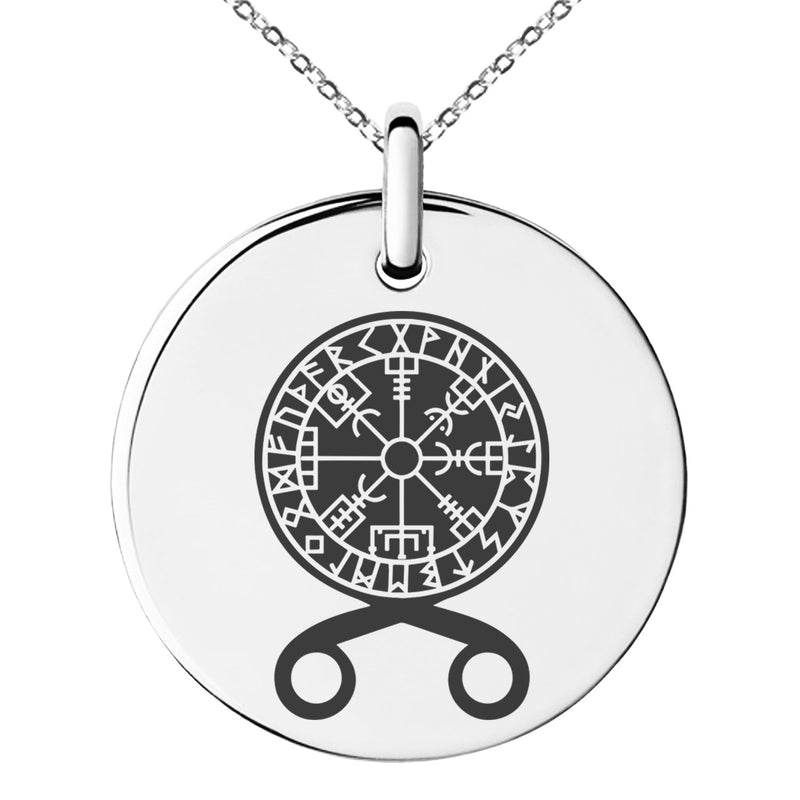 Stainless Steel Binding Vegvisir Troll Cross Runic Viking Engraved Small Medallion Circle Charm Pendant Necklace