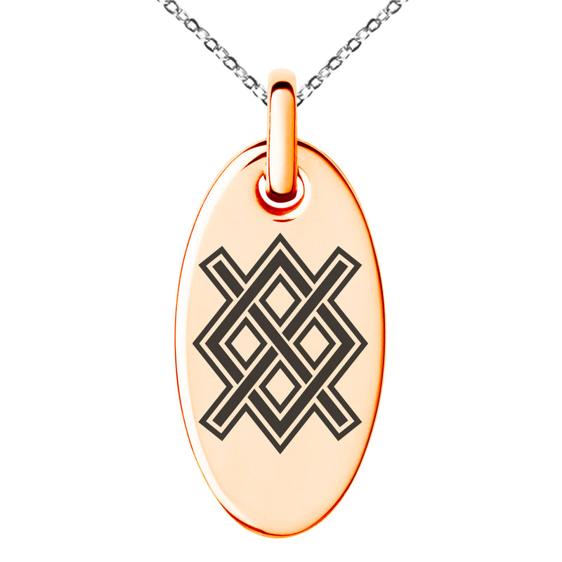 Stainless Steel Gungnir Rune Viking Norse Engraved Small Oval Charm Pendant Necklace