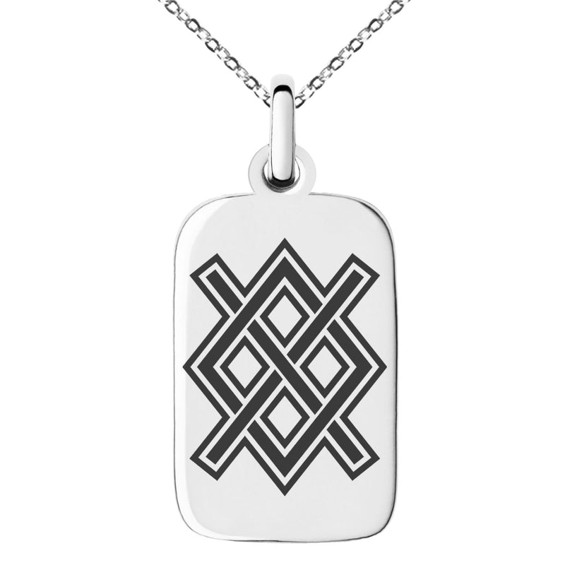 Stainless Steel Gungnir Rune Viking Norse Engraved Small Rectangle Dog Tag Charm Pendant Necklace