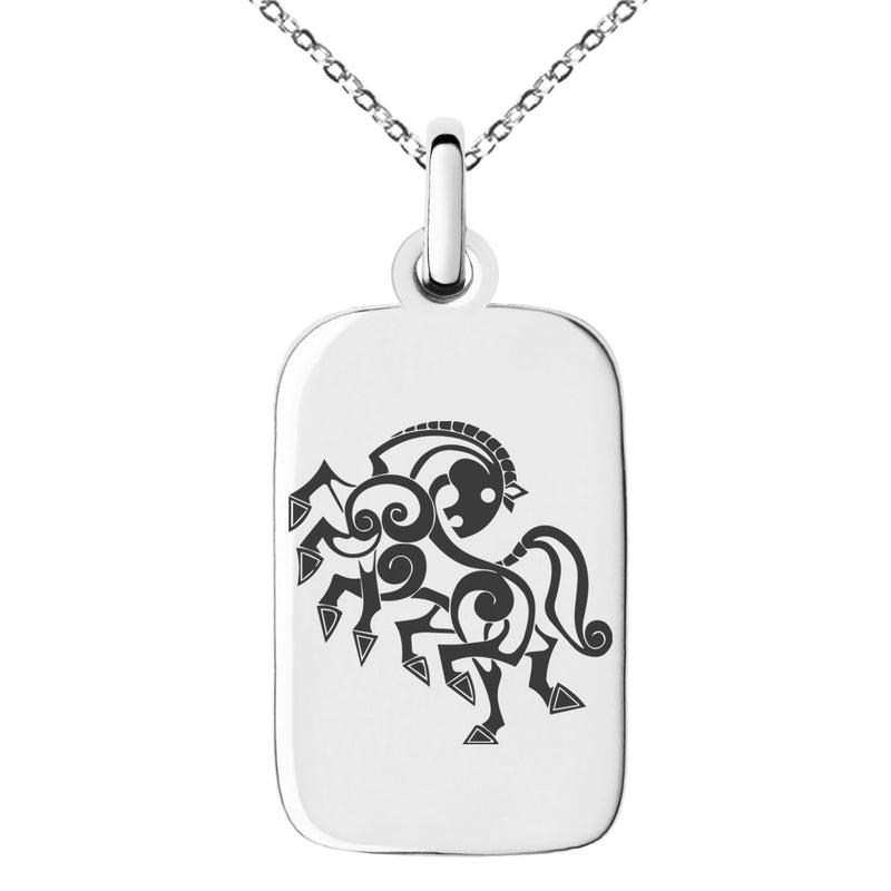 Stainless Steel Odin's Sleipnir Horse Viking Norse Engraved Small Rectangle Dog Tag Charm Pendant Necklace - Tioneer