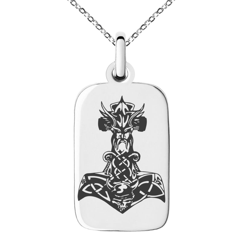 Stainless Steel Asgard Mjolnir Thor's Hammer Viking Norse Engraved Small Rectangle Dog Tag Charm Pendant Necklace