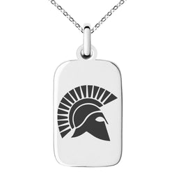 Stainless Steel Ares Greek God of War Engraved Small Rectangle Dog Tag Charm Pendant Necklace
