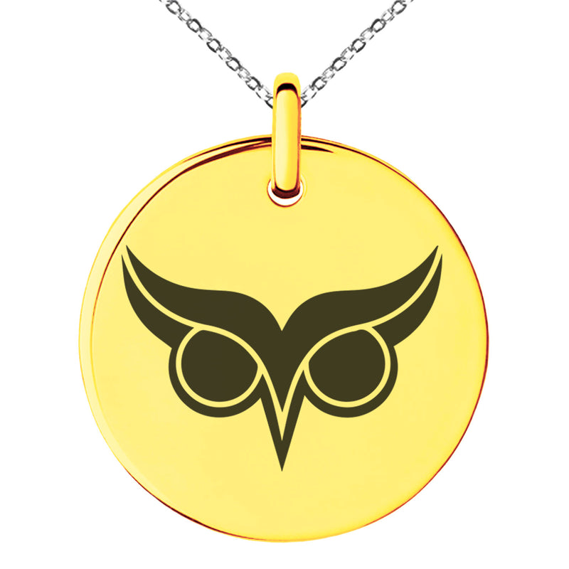 Stainless Steel Athena Greek Goddess of Wisdom Engraved Small Medallion Circle Charm Pendant Necklace