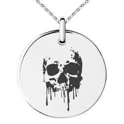 Stainless Steel Hades Greek God of Underworld Engraved Small Medallion Circle Charm Pendant Necklace