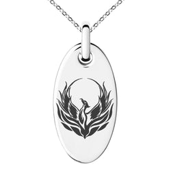 Stainless Steel Greek Mythology Phoenix Engraved Small Oval Charm Pendant Necklace