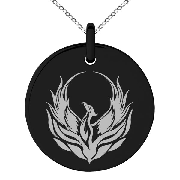 Stainless Steel Greek Mythology Phoenix Engraved Small Medallion Circle Charm Pendant Necklace