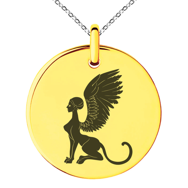 Stainless Steel Greek Mythology Shpinx Engraved Small Medallion Circle Charm Pendant Necklace