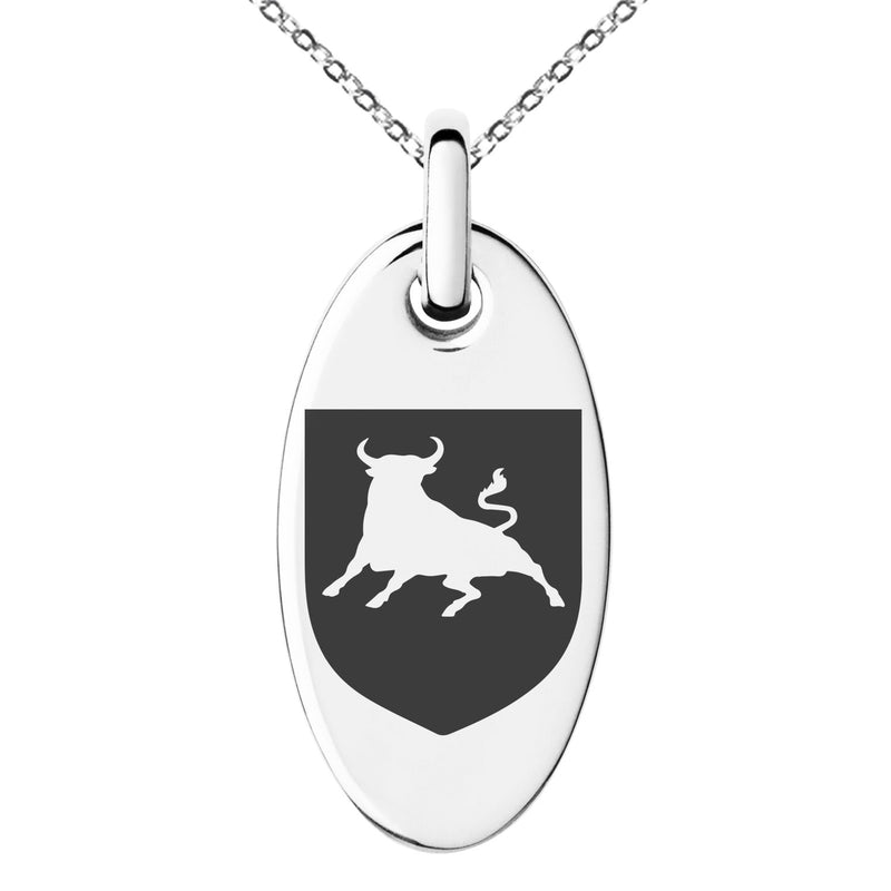 Stainless Steel Bull Bravery Coat of Arms Shield Engraved Small Oval Charm Pendant Necklace