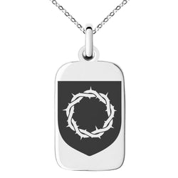 Stainless Steel Crown of Thorns Adversity Coat of Arms Shield Engraved Small Rectangle Dog Tag Charm Pendant Necklace