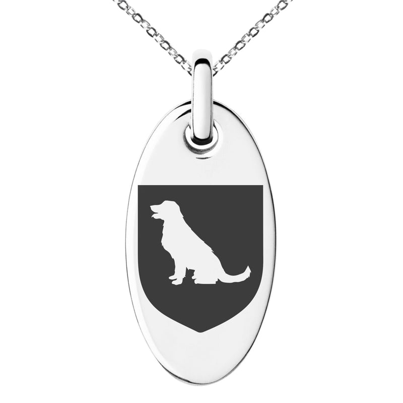 Stainless Steel Dog Loyalty Coat of Arms Shield Engraved Small Oval Charm Pendant Necklace