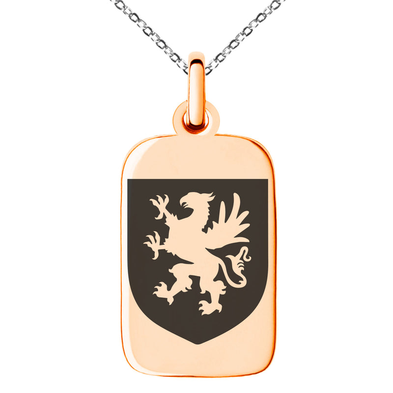 Stainless Steel Griffin Valor Coat of Arms Shield Engraved Small Rectangle Dog Tag Charm Pendant Necklace