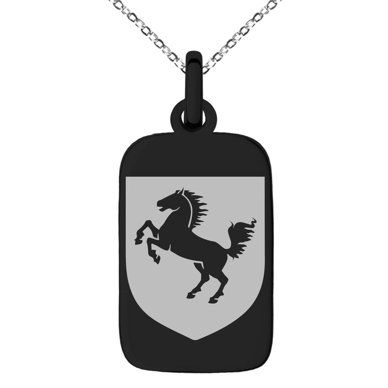 Stainless Steel Horse Battle Coat of Arms Shield Engraved Small Rectangle Dog Tag Charm Pendant Necklace
