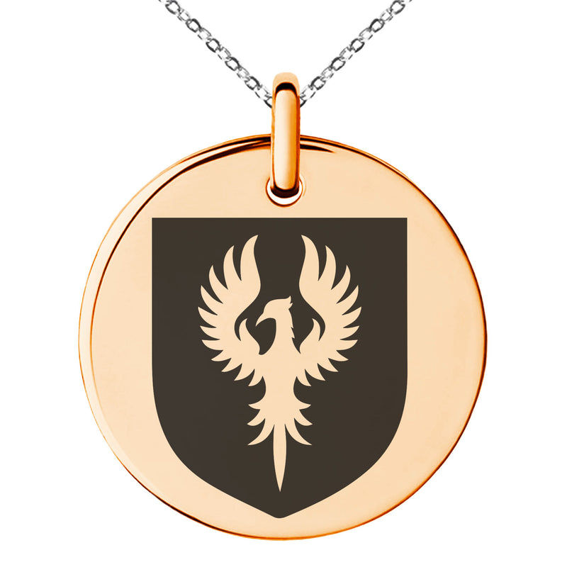 Stainless Steel Phoenix Resurrection Coat of Arms Shield Engraved Small Medallion Circle Charm Pendant Necklace - Tioneer