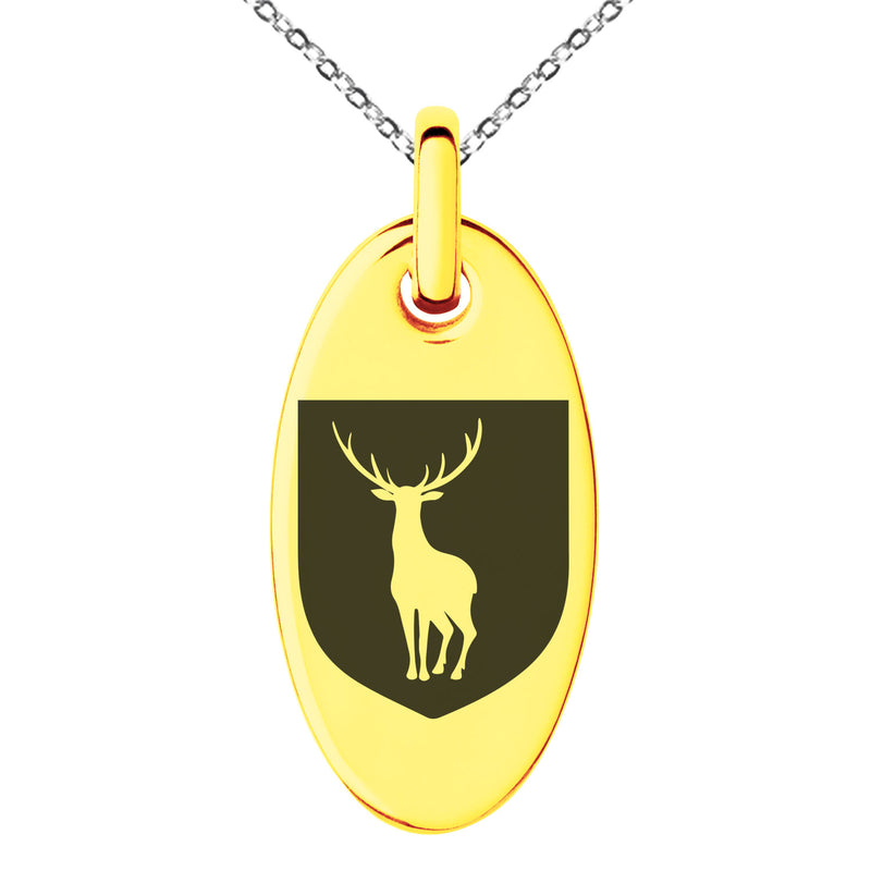 Stainless Steel Stag Purity Coat of Arms Shield Engraved Small Oval Charm Pendant Necklace - Tioneer