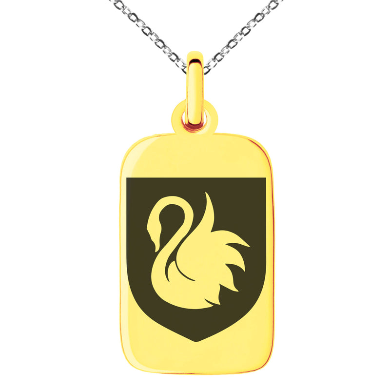 Stainless Steel Swan Harmony Coat of Arms Shield Engraved Small Rectangle Dog Tag Charm Pendant Necklace - Tioneer