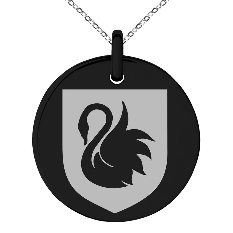Stainless Steel Swan Harmony Coat of Arms Shield Engraved Small Medallion Circle Charm Pendant Necklace - Tioneer