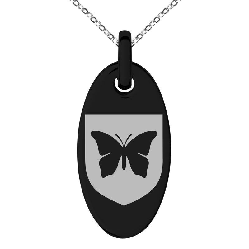 Stainless Steel Butterfly Free Spirit Coat of Arms Shield Engraved Small Oval Charm Pendant Necklace