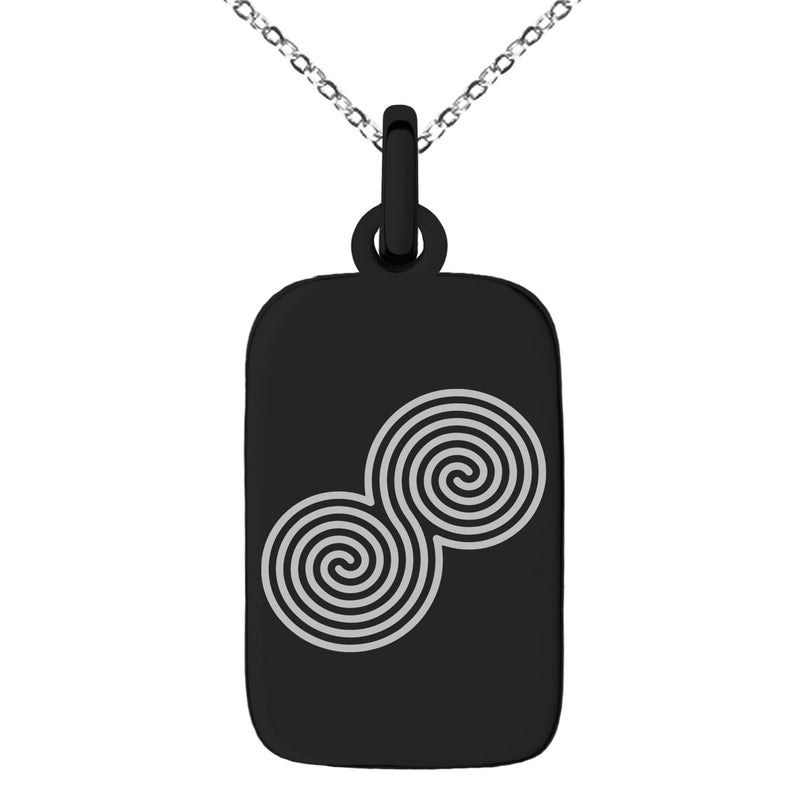 Stainless Steel Celtic Double Spiral Epona Engraved Small Rectangle Dog Tag Charm Pendant Necklace