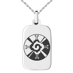 Stainless Steel Mayan Hunab Ku Rune Engraved Small Rectangle Dog Tag Charm Pendant Necklace - Tioneer