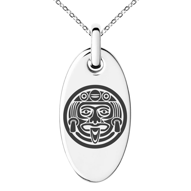 Stainless Steel Aztec Mask Rune Engraved Small Oval Charm Pendant Necklace