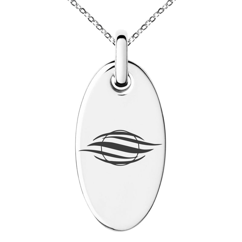 Stainless Steel Elemental Air Nation Engraved Small Oval Charm Pendant Necklace