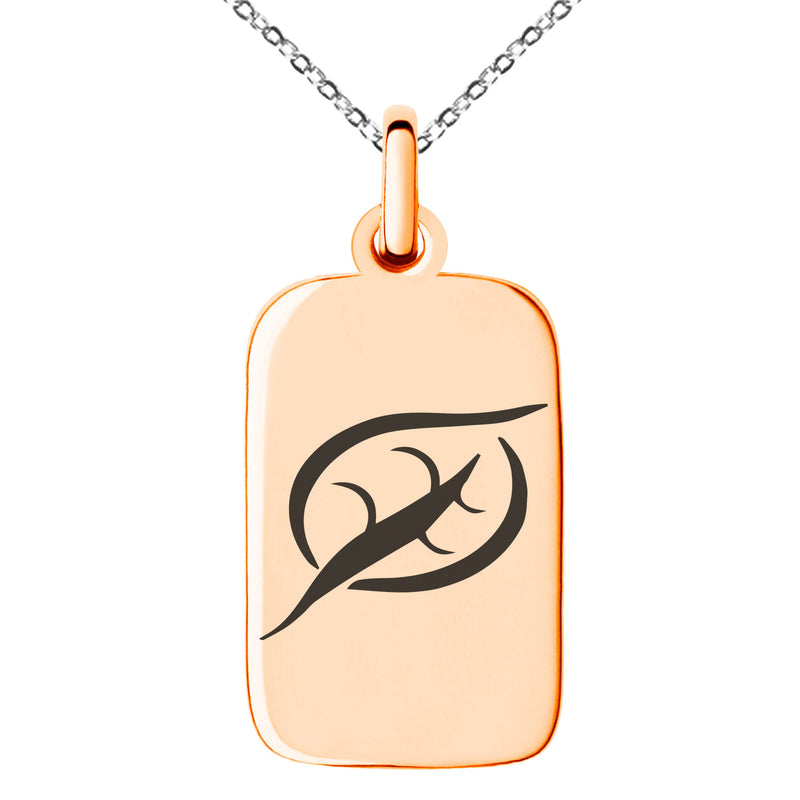 Stainless Steel Elemental Earth Nation Engraved Small Rectangle Dog Tag Charm Pendant Necklace