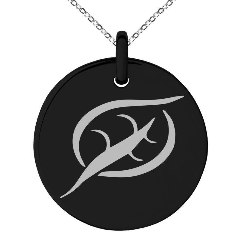 Stainless Steel Elemental Earth Nation Engraved Small Medallion Circle Charm Pendant Necklace