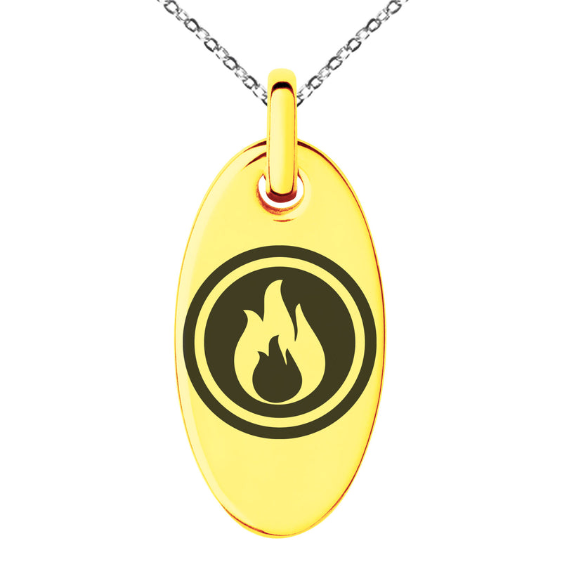 Stainless Steel Fire Element Rune Engraved Small Oval Charm Pendant Necklace