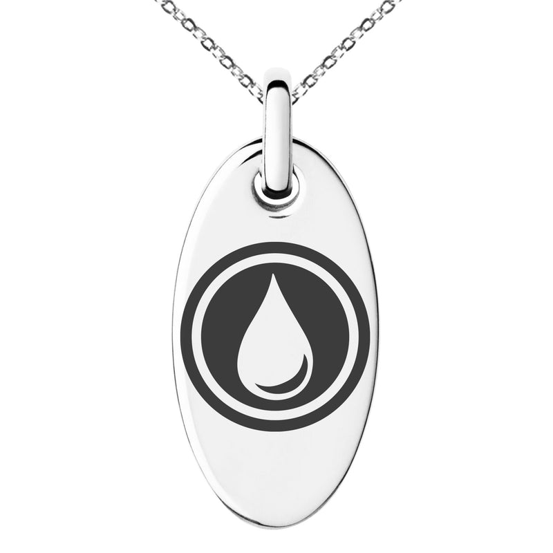 Stainless Steel Water Element Rune Engraved Small Oval Charm Pendant Necklace - Tioneer
