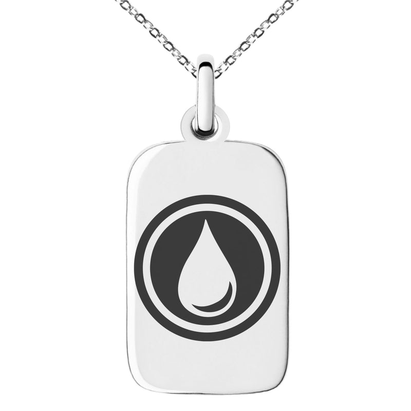Stainless Steel Water Element Rune Engraved Small Rectangle Dog Tag Charm Pendant Necklace - Tioneer