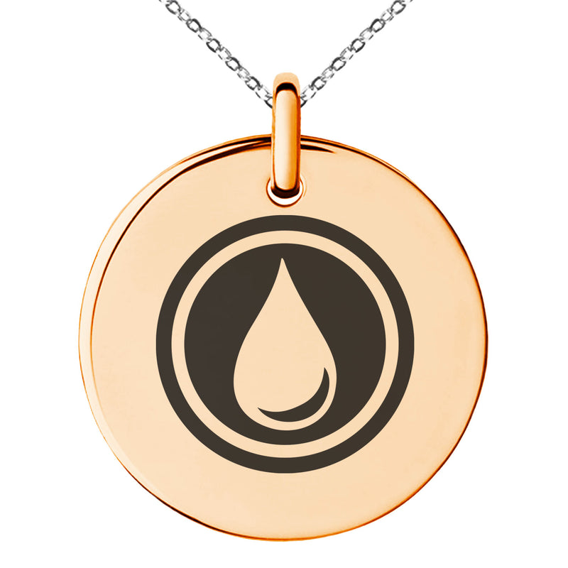 Stainless Steel Water Element Rune Engraved Small Medallion Circle Charm Pendant Necklace - Tioneer