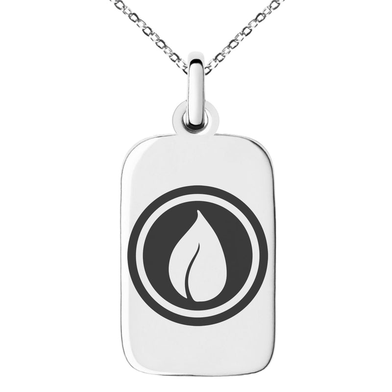 Stainless Steel Nature Element Rune Engraved Small Rectangle Dog Tag Charm Pendant Necklace - Tioneer