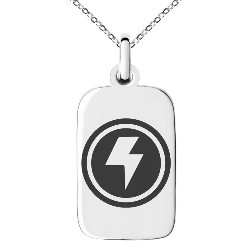 Stainless Steel Electric Element Rune Engraved Small Rectangle Dog Tag Charm Pendant Necklace