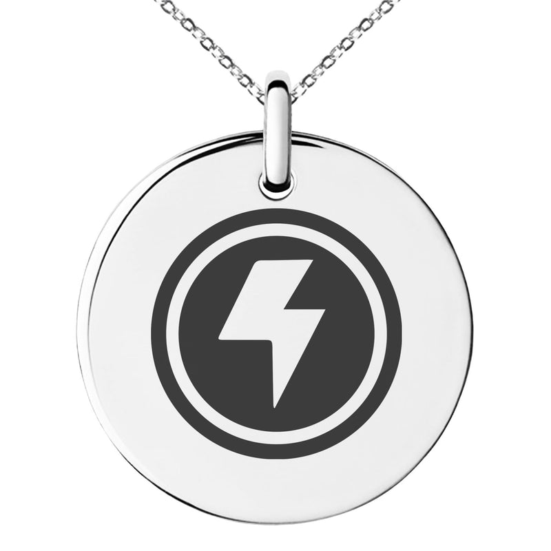 Stainless Steel Electric Element Rune Engraved Small Medallion Circle Charm Pendant Necklace